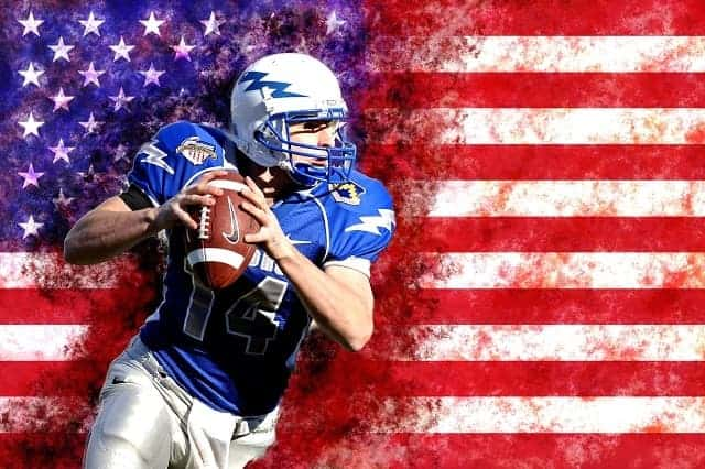 American football and flag background