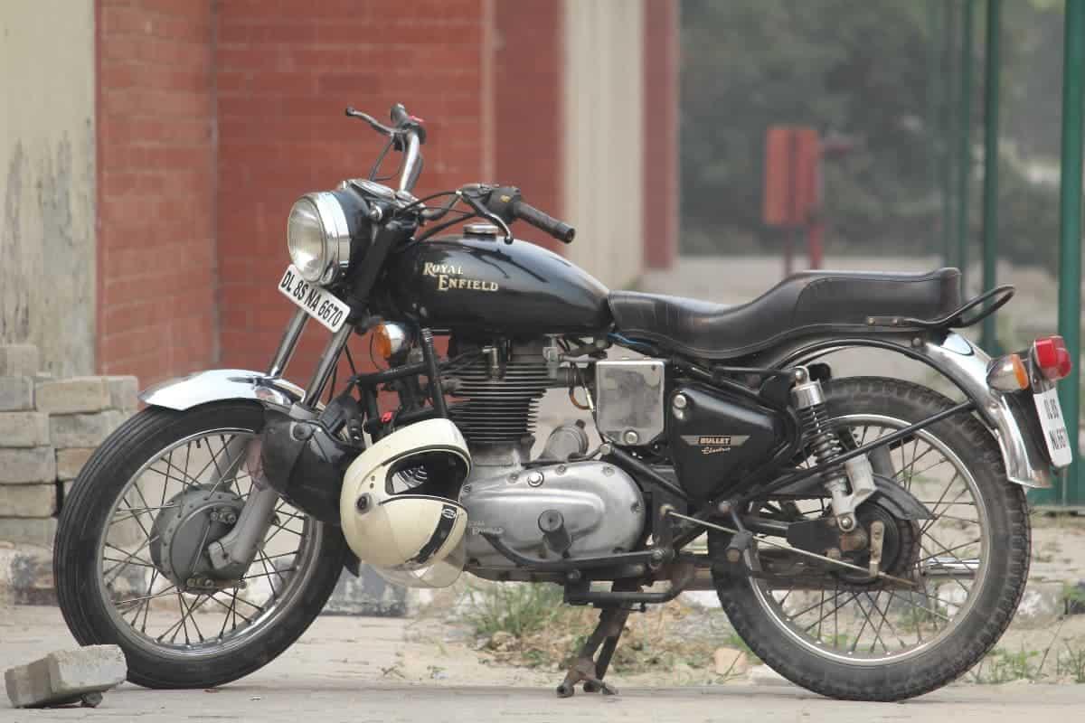 Enfield motorcycle and helmet